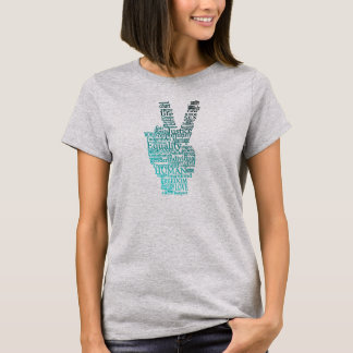 Teal Black White Peace Typography T-shirt