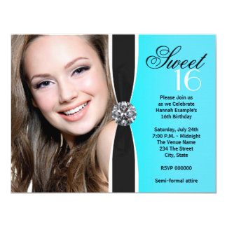 Teal Black White Photo Birthday Party 4.25x5.5 Paper Invitation Card