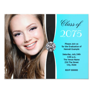 Teal Black White Photo Graduation Announcement