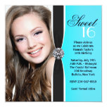 "Teal Black White Photo Sweet 16 Birthday Party 5.25"" Square Invitation Card"