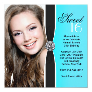 Teal Black White Photo Sweet 16 Birthday Party 5.25x5.25 Square Paper Invitation Card