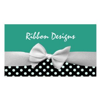 Teal, black & white ribbon bow and polka dots business card
