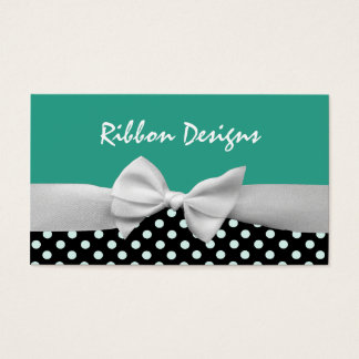Teal, black & white ribbon bow and polka dots business card