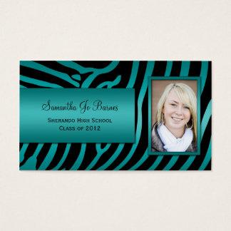 Teal Black Zebra Graduation Handouts Business Card