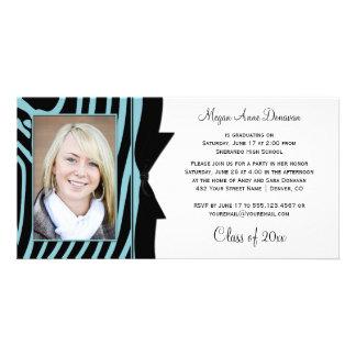 Teal Black Zebra Print Photo Graduation Party Card