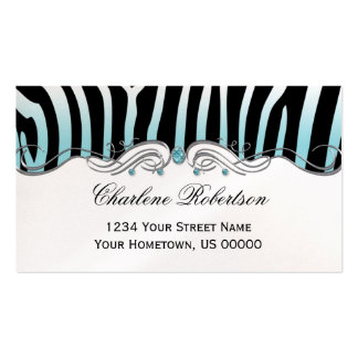 Teal Black Zebra Teal Diamonds Ornate Silver Swirl Business Card Template