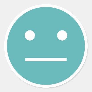Teal blank face emoji classic round sticker