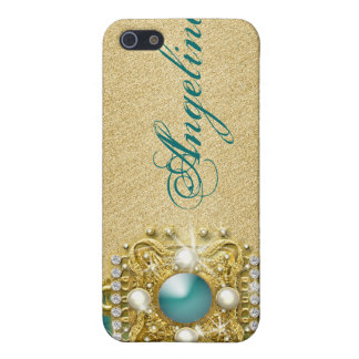 Teal bling gems monogram name cover for iPhone SE/5/5s