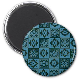 Teal blockprint magnet