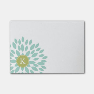 Teal Blooming Blossom with Green Monogram Initial Post-it Notes