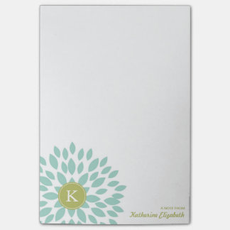 Teal Blooming Blossom with Green Monogram Post-it Notes