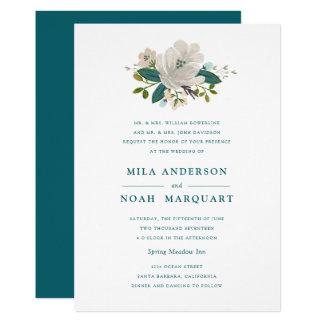 Teal Blooms Wedding Invitation