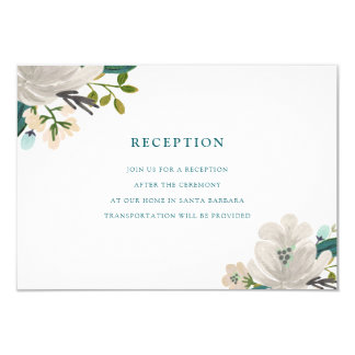 Teal Blooms Wedding Reception Card