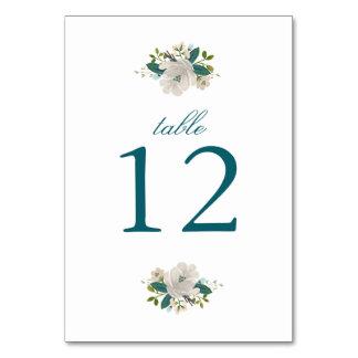 Teal Blooms Wedding Table Number