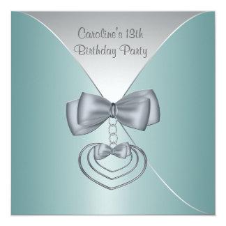Teal Blue 13th Birthday Party Elegant Invitation