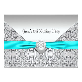 Teal Blue 15th Quinceanera Birthday 5x7 Paper Invitation Card