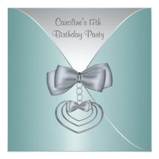 Teal Blue 17th Birthday Party Elegant Invitation