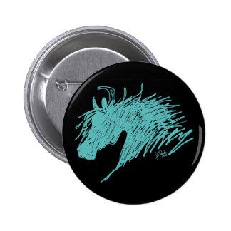 Teal Blue Abstract Horse Head art Button