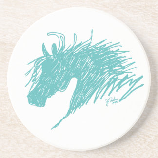 Teal Blue Abstract Horse Head art Coaster