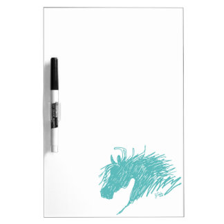 Teal Blue Abstract Horse Head art Dry-Erase Board