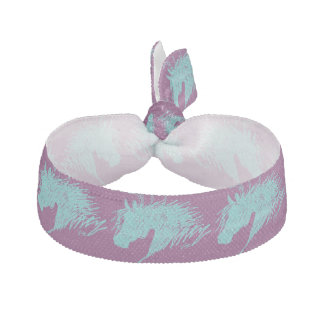 Teal Blue Abstract Horse Head art Elastic Hair Tie
