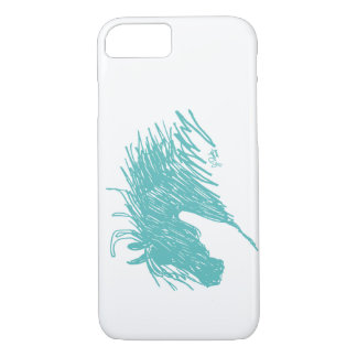Teal Blue Abstract Horse Head art iPhone 8/7 Case