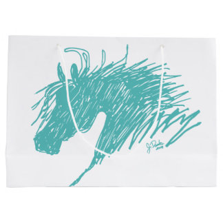 Teal Blue Abstract Horse Head art Large Gift Bag