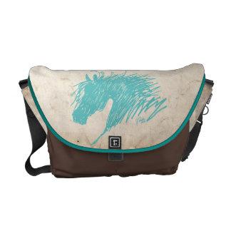 Teal Blue Abstract Horse Head art Messenger Bag