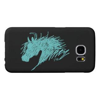 Teal Blue Abstract Horse Head art Samsung Galaxy S6 Case