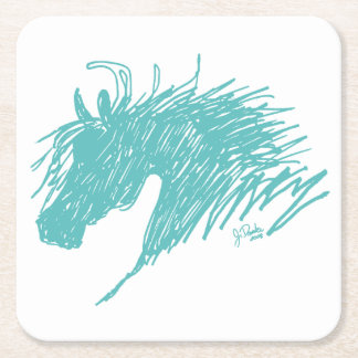 Teal Blue Abstract Horse Head art Square Paper Coaster