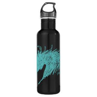 Teal Blue Abstract Horse Head art Water Bottle