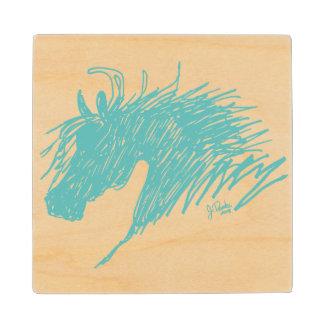 Teal Blue Abstract Horse Head art Wood Coaster