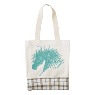 Teal Blue Abstract Horse Head art Zazzle HEART Tote Bag