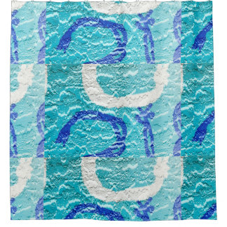 Teal blue abstract TEMPLATE Shower Curtain