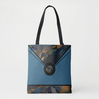 Teal Blue Abstract Tote Bag