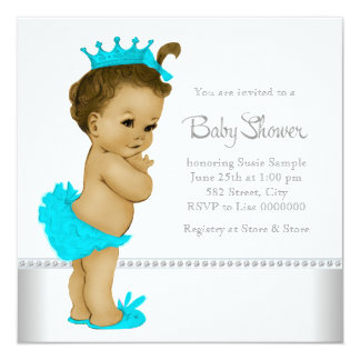 Teal Blue African American Baby Girl Shower Custom Announcements
