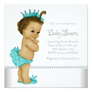 Teal Blue African American Baby Girl Shower Personalized Announcements
