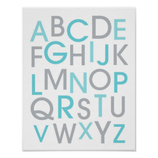 Teal Blue Alphabet Nursery Wall Art Print