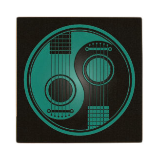 Teal Blue and Black Acoustic Guitars Yin Yang Wooden Coaster