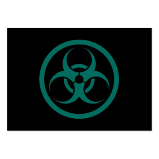 Teal Blue and Black Bio Hazard Circle Large Business Cards (Pack Of 100)