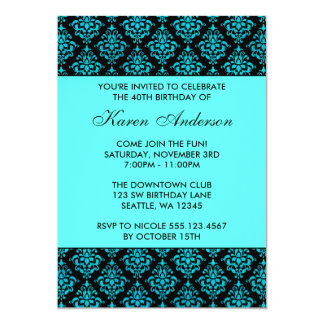Teal Blue and Black Damask 40th Birthday Party Card