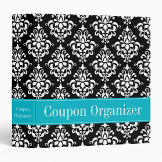 Teal Blue and Black Damask Coupon Organizer Binder