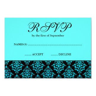 Teal Blue and Black Damask RSVP Card