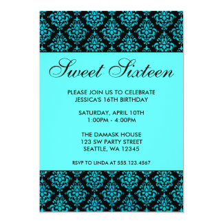 Teal Blue and Black Damask Sweet Sixteen Birthday 5x7 Paper Invitation Card