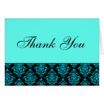 Teal Blue and Black Damask Thank You Note Cards