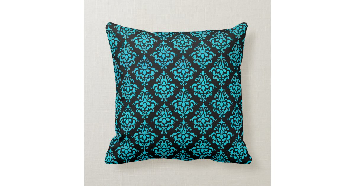Teal And Black Decorative Pillows : Teal Blue and Black Damask Throw Pillow Zazzle
