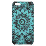 Teal Blue and Black Doily Lace Snowflake Mandala Case For iPhone 5C