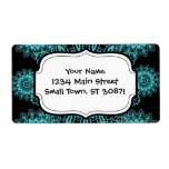 Teal Blue and Black Doily Lace Snowflake Mandala Shipping Label
