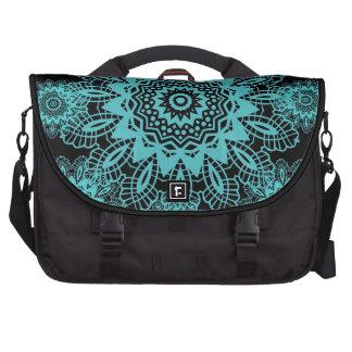 Teal Blue and Black Doily Lace Snowflake Mandala Laptop Messenger Bag