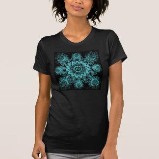 Teal Blue and Black Doily Lace Snowflake Mandala T-Shirt